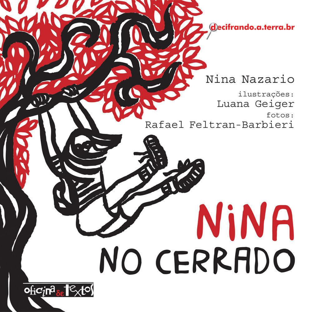 """Capa do livro """"Nina no cerrado"""": no fundo branco, há uma árvore de folhas vermelhas e uma menina pendurada em um dos galhos em contornos pretos"""